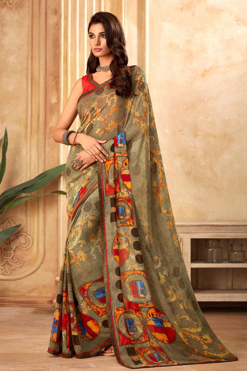 Casual Wear Dark Beige Color Printed Saree In Georgette Fabric