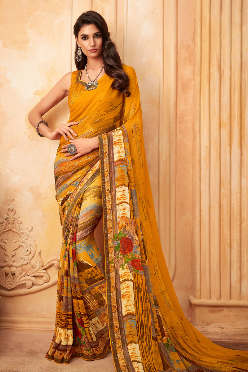 Printed Orange Color Georgette Fabric Function Wear Saree