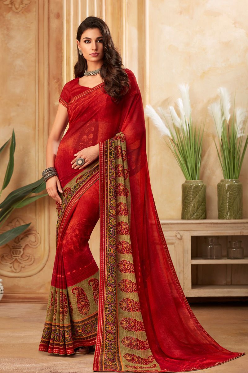 Georgette Fabric Red Color Printed Casual Wear Fancy Saree