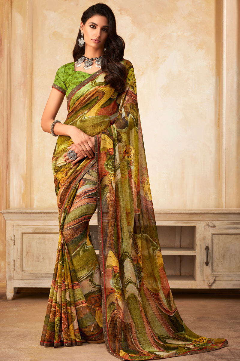 Green Color Printed Designs On Georgette Fabric Office Wear Saree