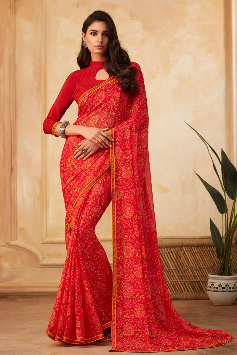 Red Color Georgette Fabric Printed Saree