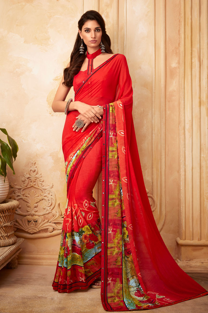 Printed Georgette Fabric Red Color Casual Wear Saree