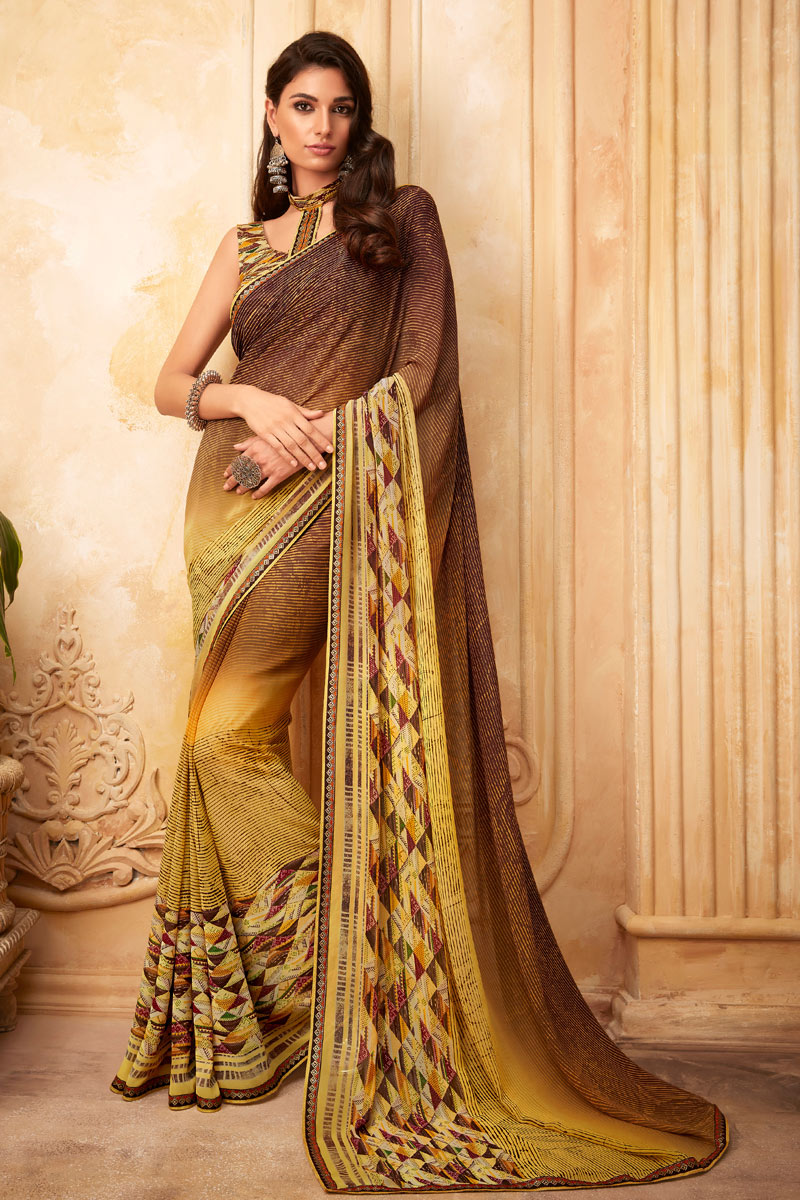 Georgette Fabric Light Brown Color Function Wear Printed Saree