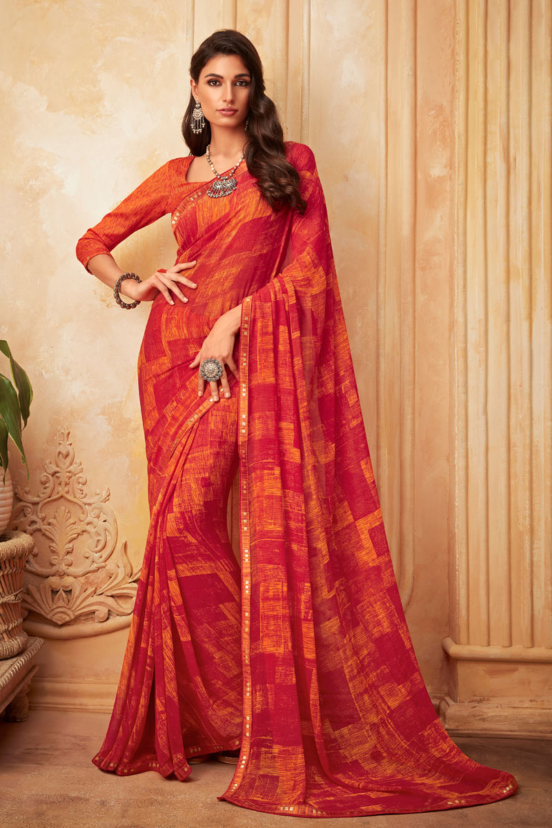 Red Color Georgette Fabric Printed Festive Saree