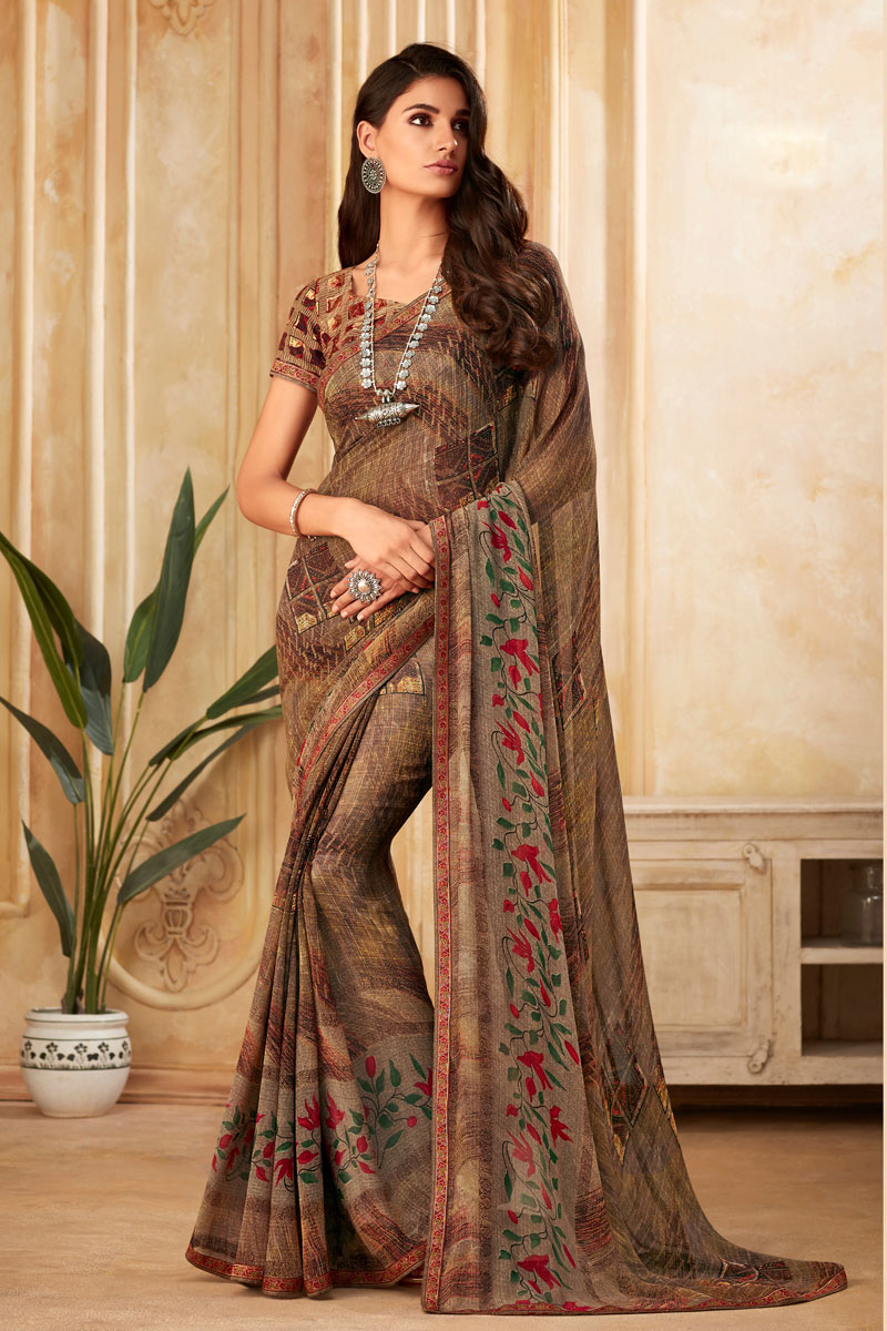 Occasion Wear Fancy Printed Saree In Georgette Fabric