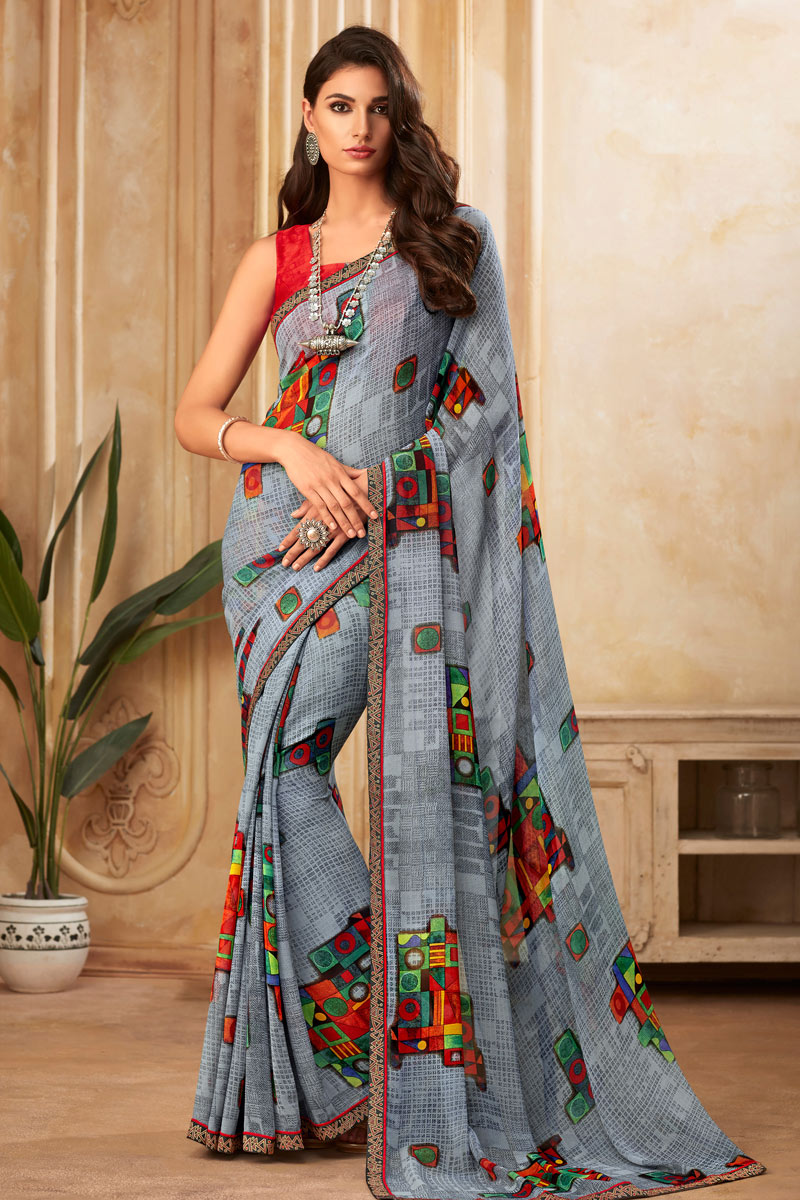 Georgette Fabric Grey Color Printed Daily Wear Saree