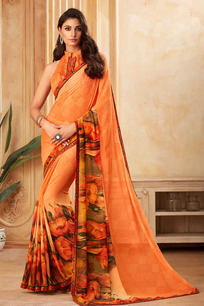 Orange Color Georgette Fabric Fancy Printed Daily Wear Saree
