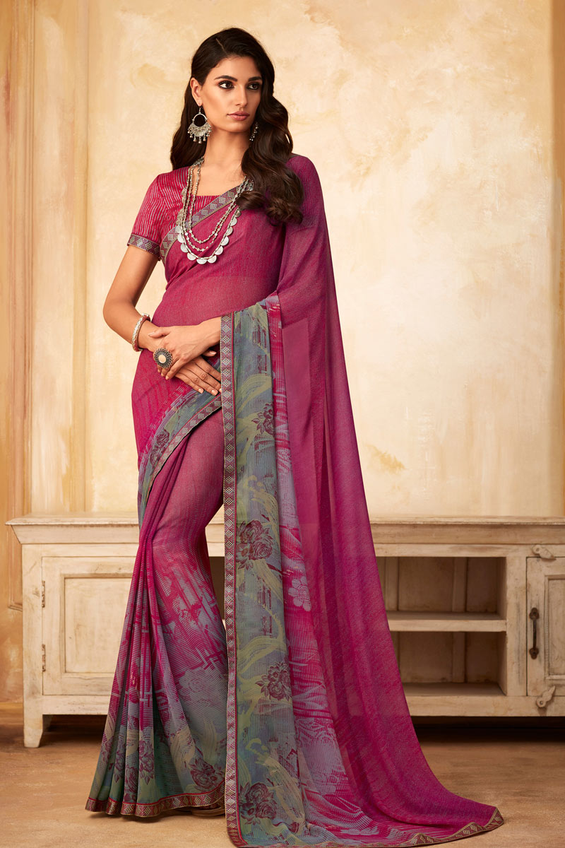Printed Georgette Fabric Saree In Dark Pink Color