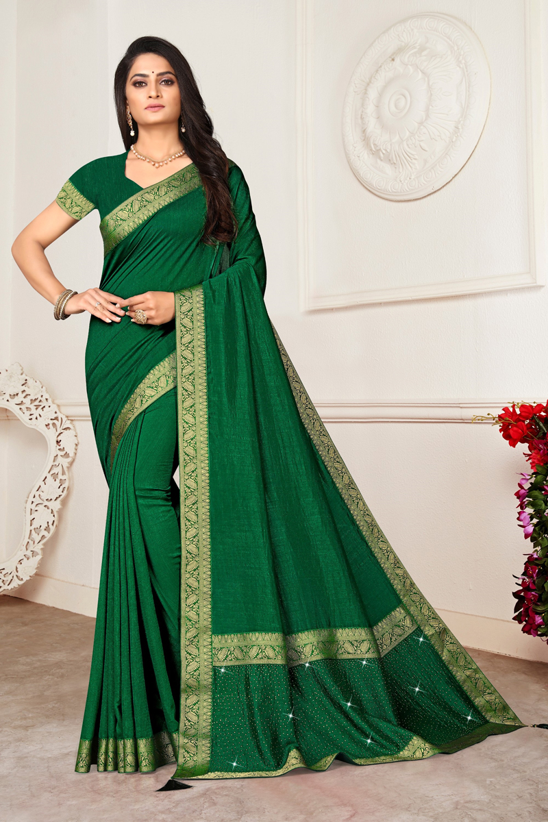 Dark Green Color Traditional Lace Work Saree In Art Silk Fabric
