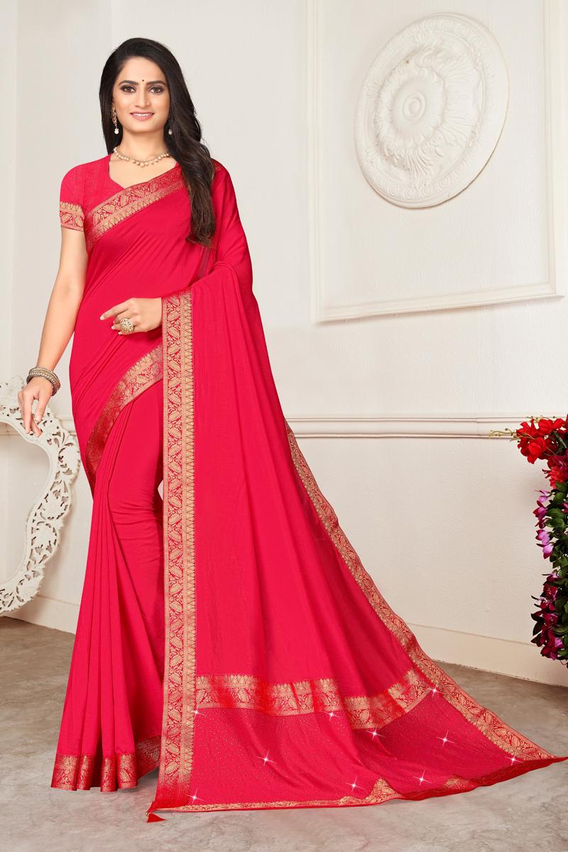 Art Silk Fabric Designer Lace Work Saree In Pink Color