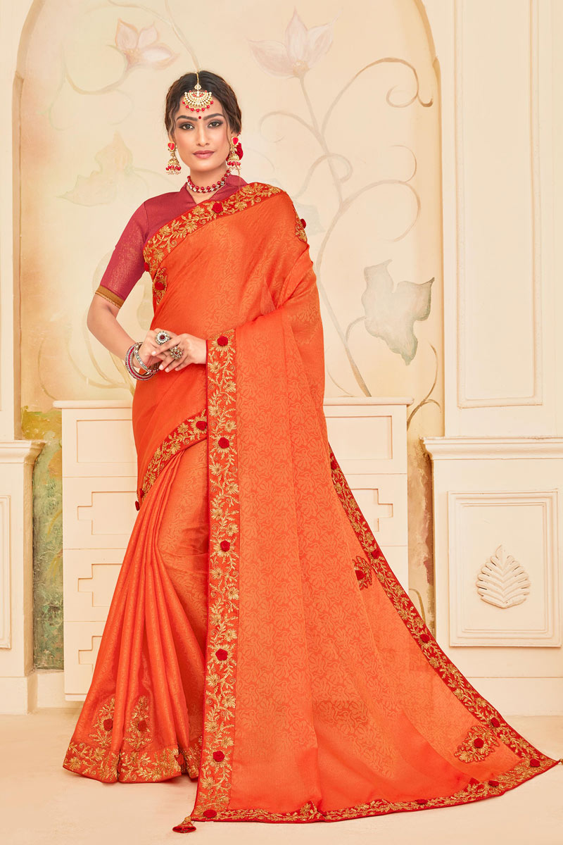 Embroidery Work On Art Silk Fabric Designer Saree In Orange With Attractive Blouse