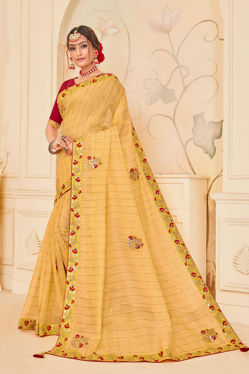 Art Silk Fabric Cream Wedding Wear Saree With Embroidery Work And Beautiful Blouse