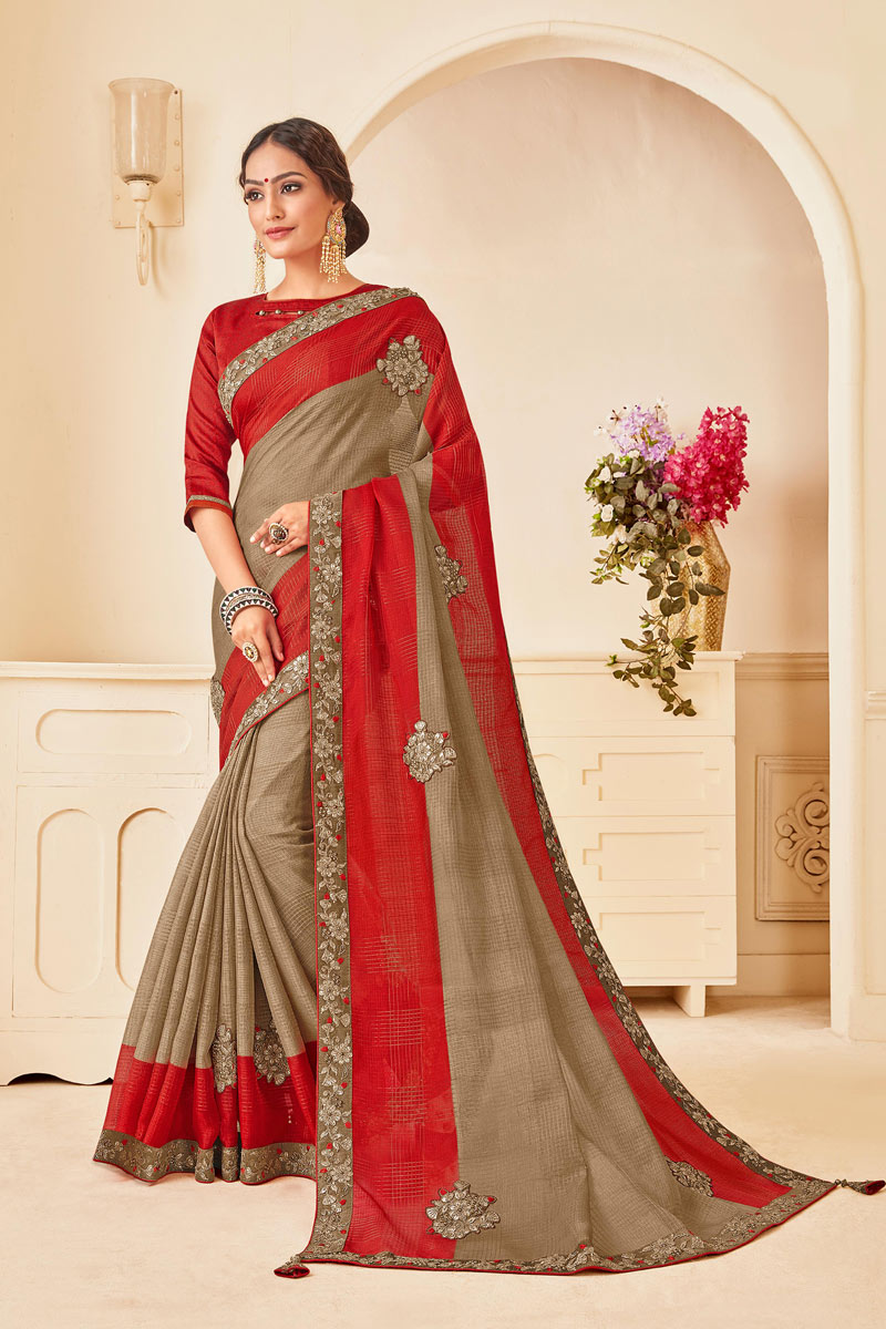Art Silk Fabric Dark Beige Occasion Wear Saree With Embroidery Work And Attractive Blouse