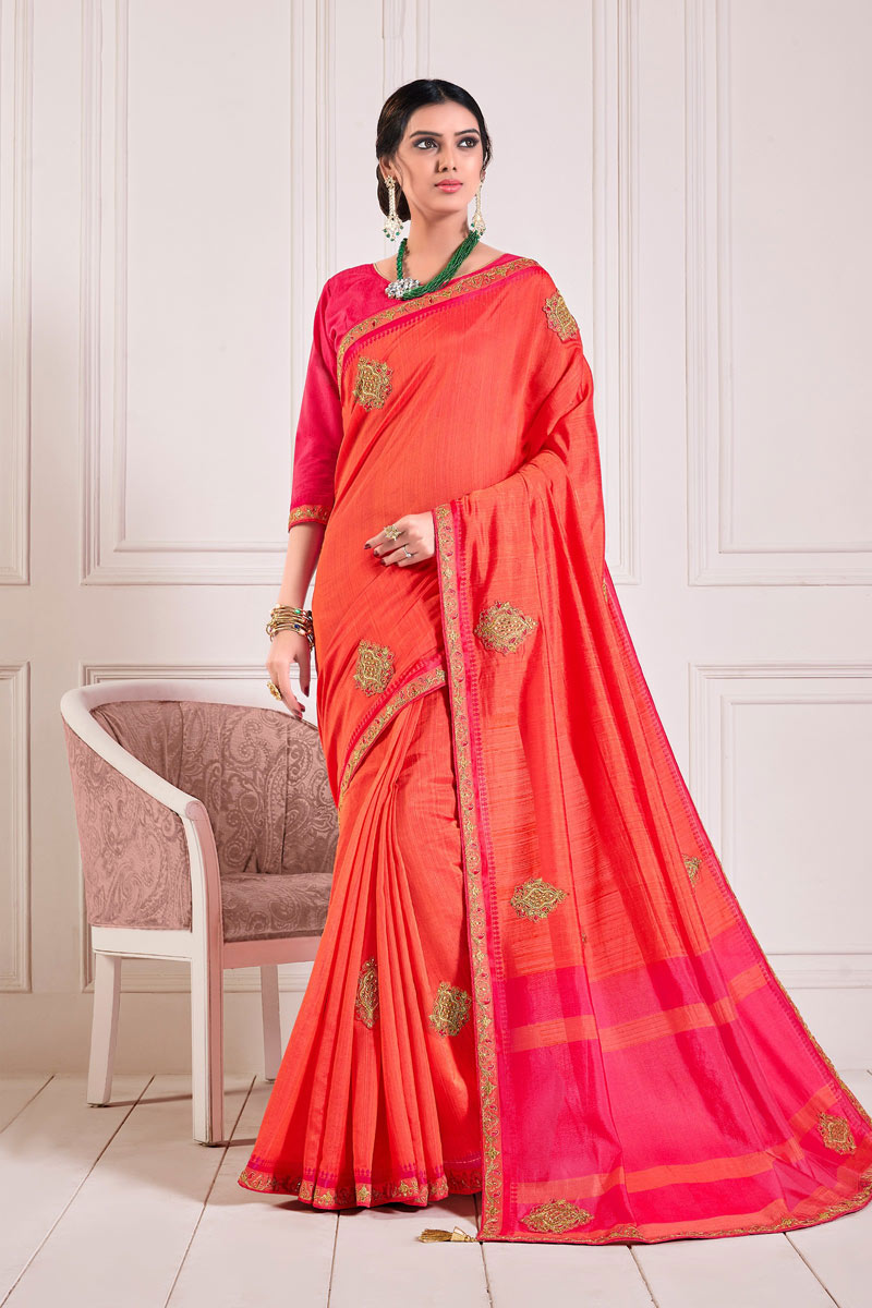 Orange Color Art Silk Fabric Designer Saree With Lace Work And Blouse