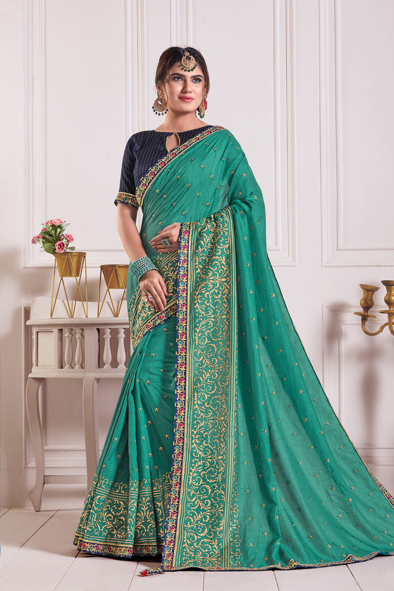 Lace Work On Art Silk Fabric Designer Saree In Teal Color