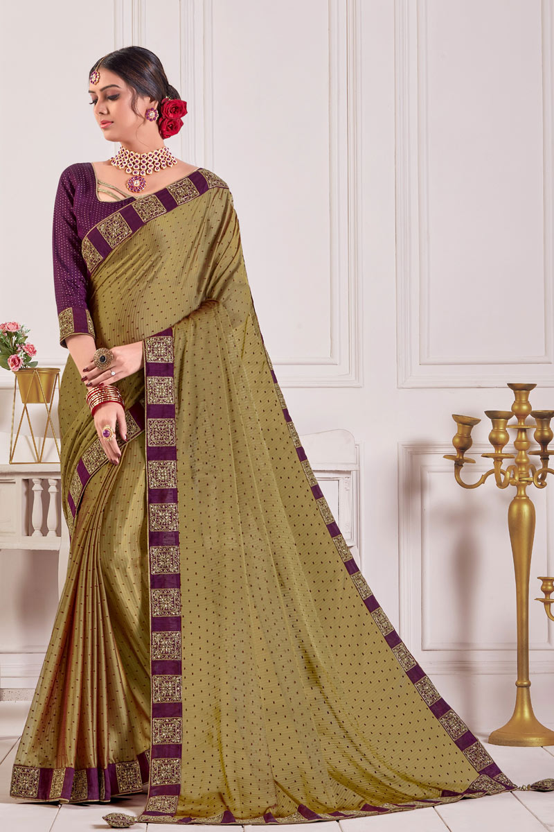 Designer Saree In Chiffon Fabric Brown Color With Lace Work