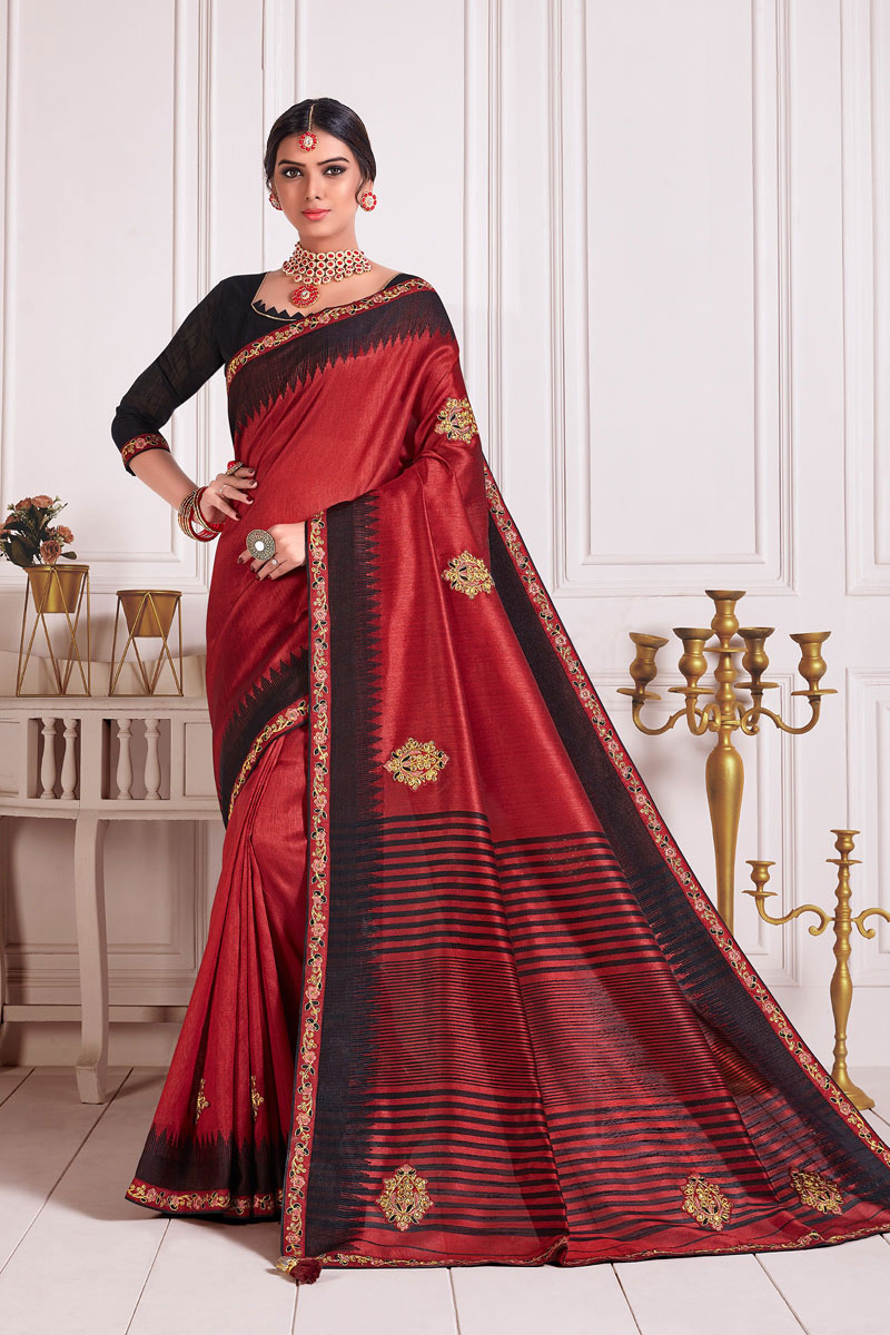 Lace Work Art Silk Fabric Wedding Wear Red Color Saree With Blouse