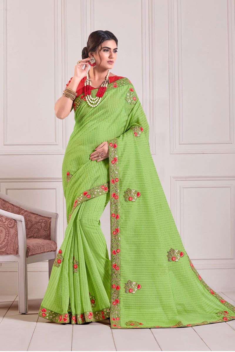 Green Color Cotton Fabric Designer Lace Work Saree With Blouse