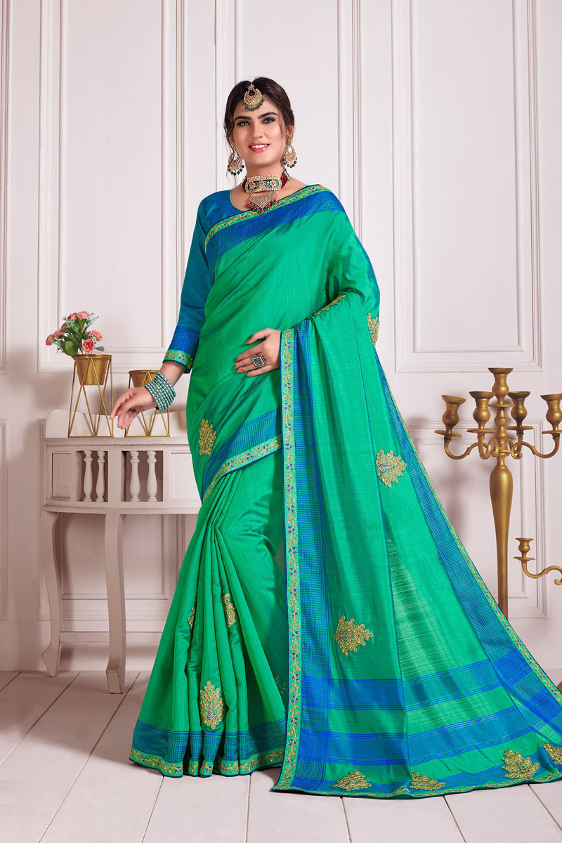 Art Silk Fabric Lace Work Sangeet Wear Sea Green Color Saree With Blouse