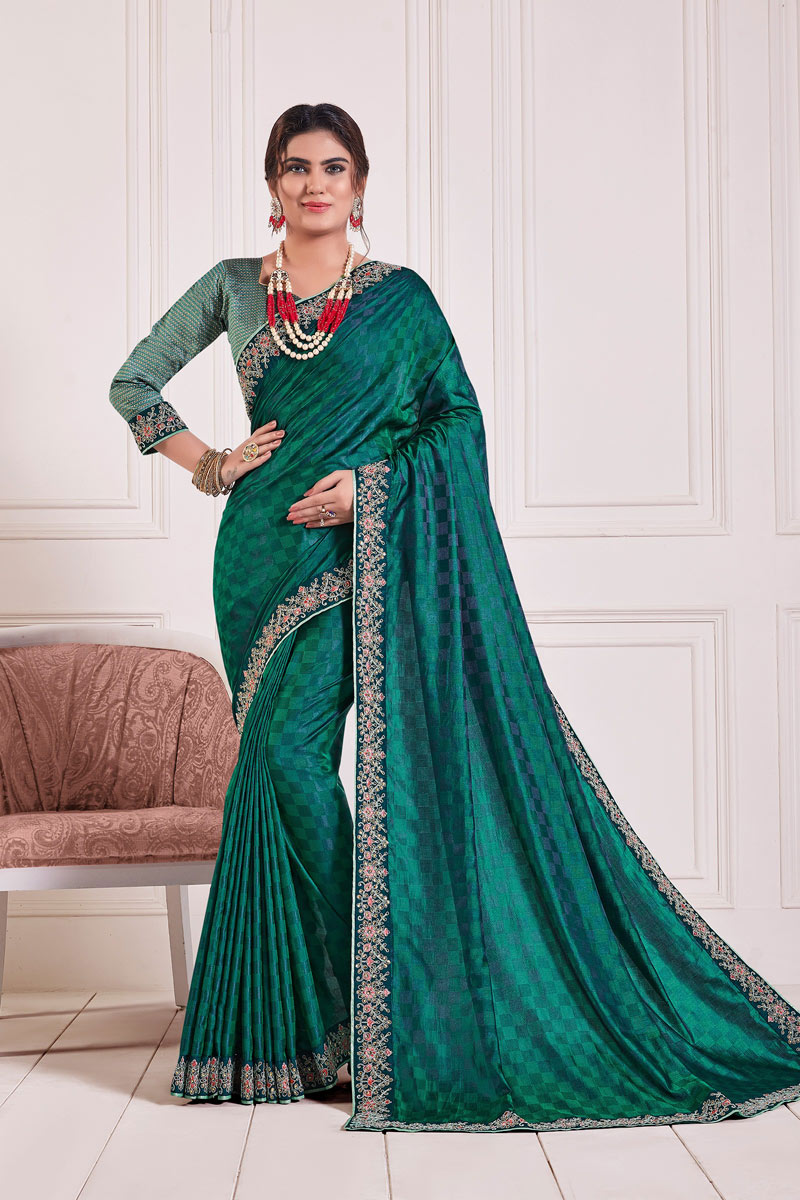 Reception Wear Saree With Lace Work In Art Silk Fabric Teal Color