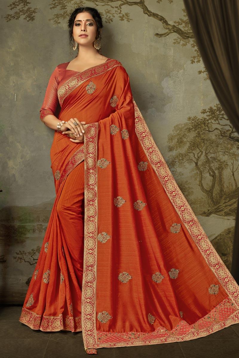 Sangeet Wear Alluring Art Silk Embroidered Orange Color Saree