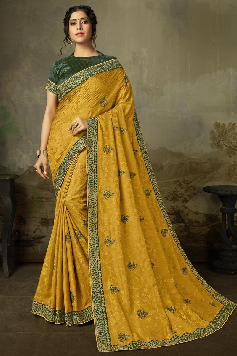 Sangeet Wear Alluring Yellow Color Embroidered Saree In Art Silk