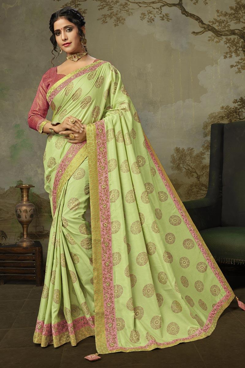 Sangeet Wear Sea Green Color Alluring Art Silk Embroidered Saree