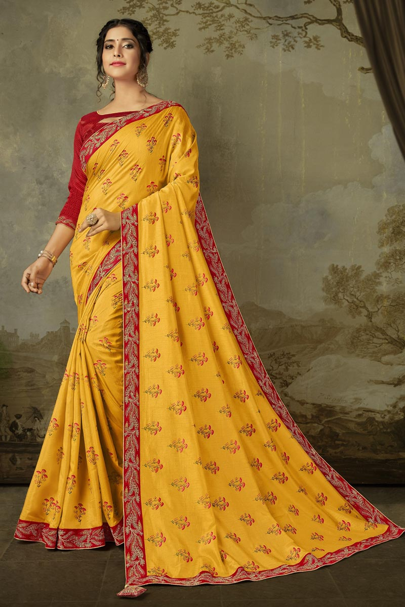 Sangeet Wear Yellow Color Alluring Embroidered Saree In Art Silk