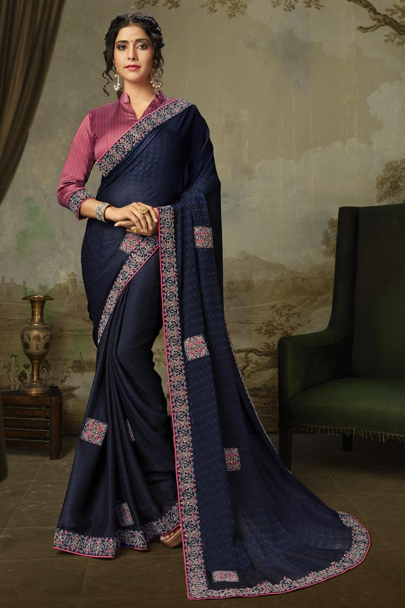 Navy Blue Color Alluring Sangeet Wear Art Silk Embroidered Saree