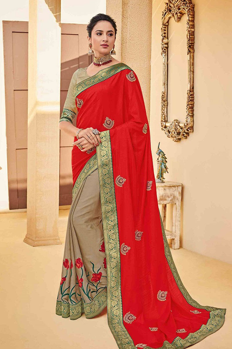 Art Silk Fabric Embroidery Designs On Red Color Reception Wear Saree With Attractive Blouse