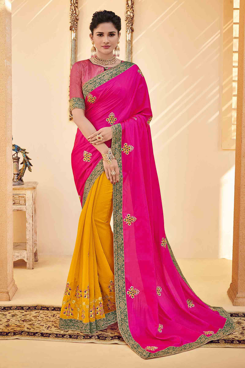 Embroidery Work On Rani Color Art Silk Fabric Party Wear Saree With Amazing Blouse