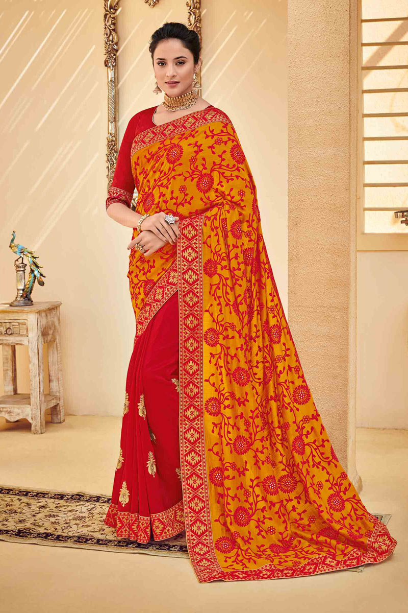 Orange Color Art Silk Fabric Function Wear Saree With Embroidery Work And Astounding Blouse