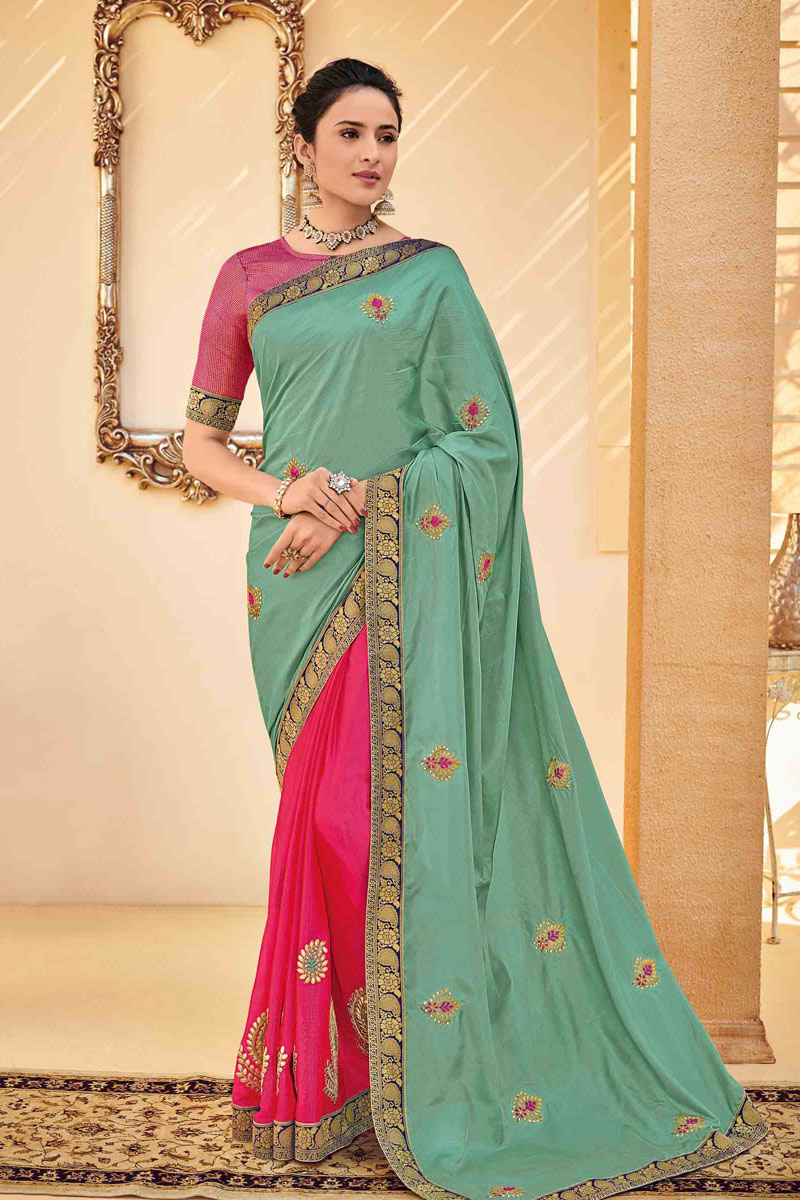 Art Silk Fabric Light Cyan Color Festive Saree With Embroidery Work And Gorgeous Blouse