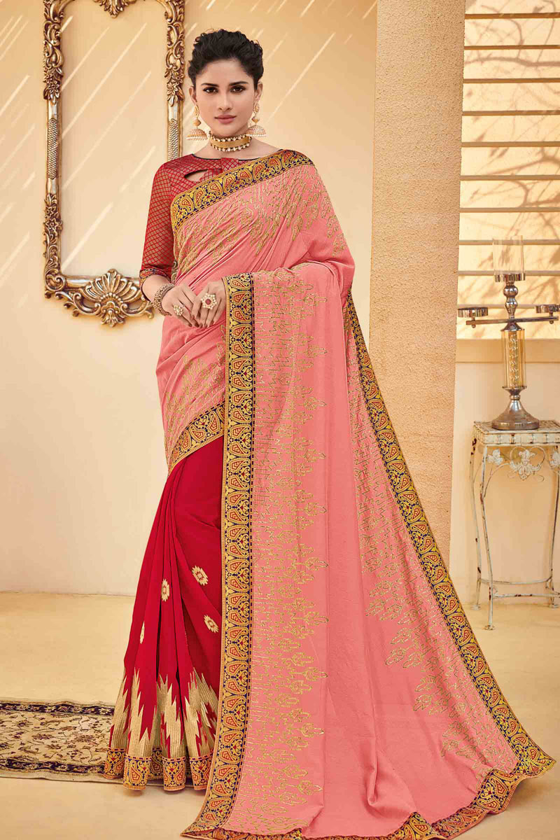 Embroidery Work On Reception Wear Saree In Art Silk Fabric Pink Color With Charming Blouse