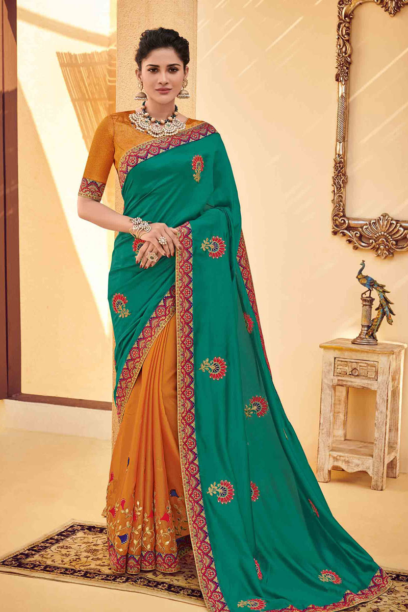 Embroidery Work On Teal Color Designer Saree In Art Silk Fabric With Admirable Blouse