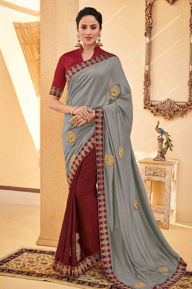 Grey Color Designer Saree In Art Silk Fabric With Embroidery Designs And Attractive Blouse