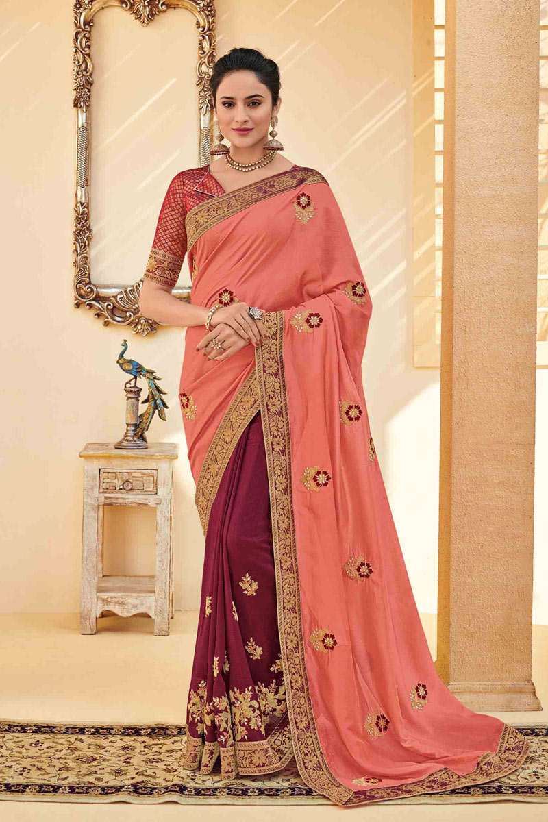 Art Silk Fabric Peach Color Occasion Wear Saree With Embroidery Work And Designer Blouse
