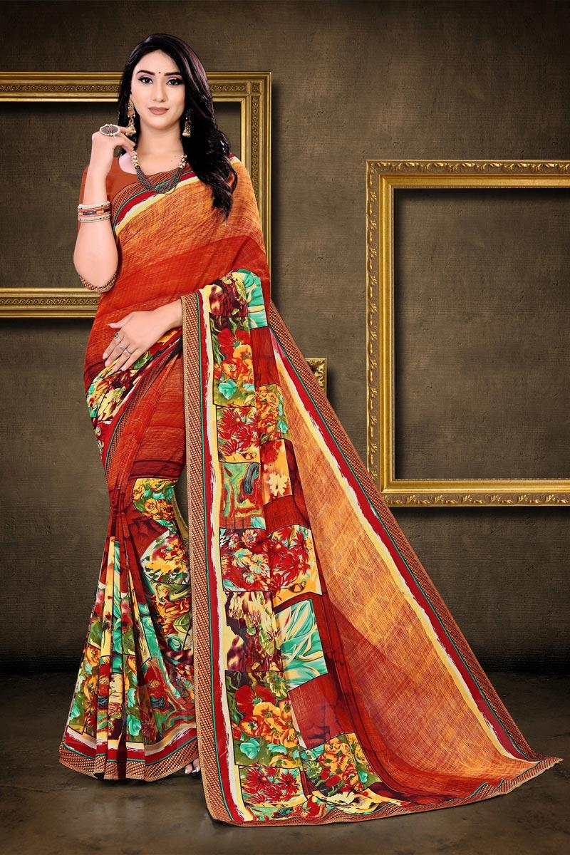 Multi Color Chic Regular Wear Georgette Fabric Printed Saree