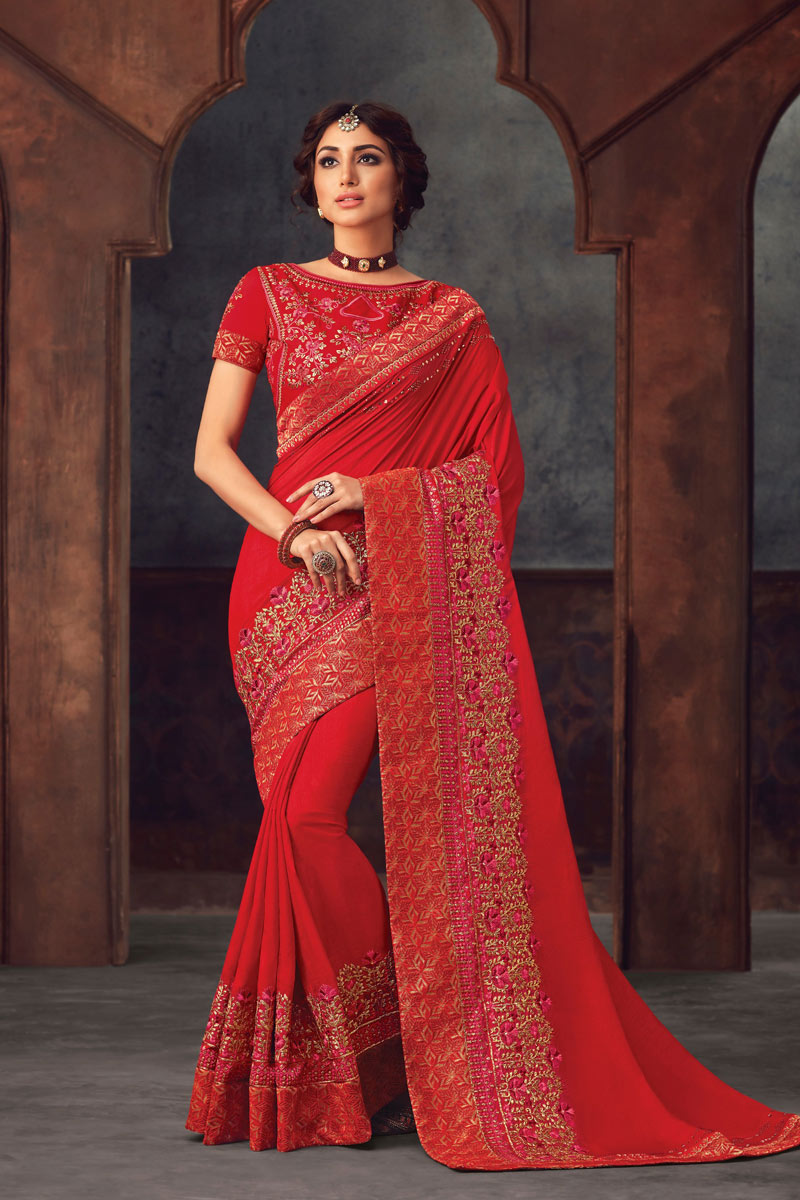Red Art Silk Designer Saree With Embroidery Designs And Enchanting Blouse