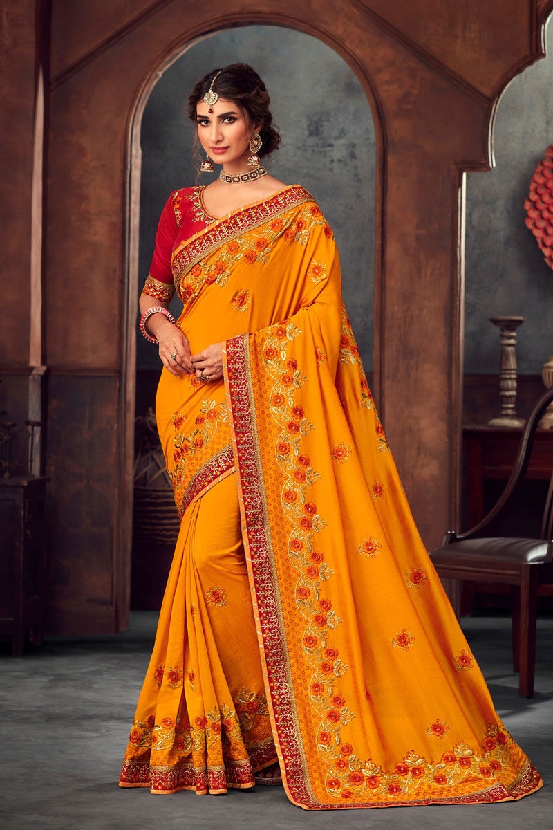 Embroidery Designs On Art Silk Occasion Wear Saree In Orange With Enticing Blouse