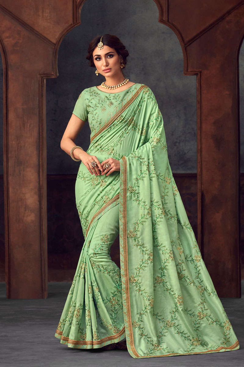 Sea Green Art Silk Party Wear Saree With Embroidery Work And Enigmatic Blouse