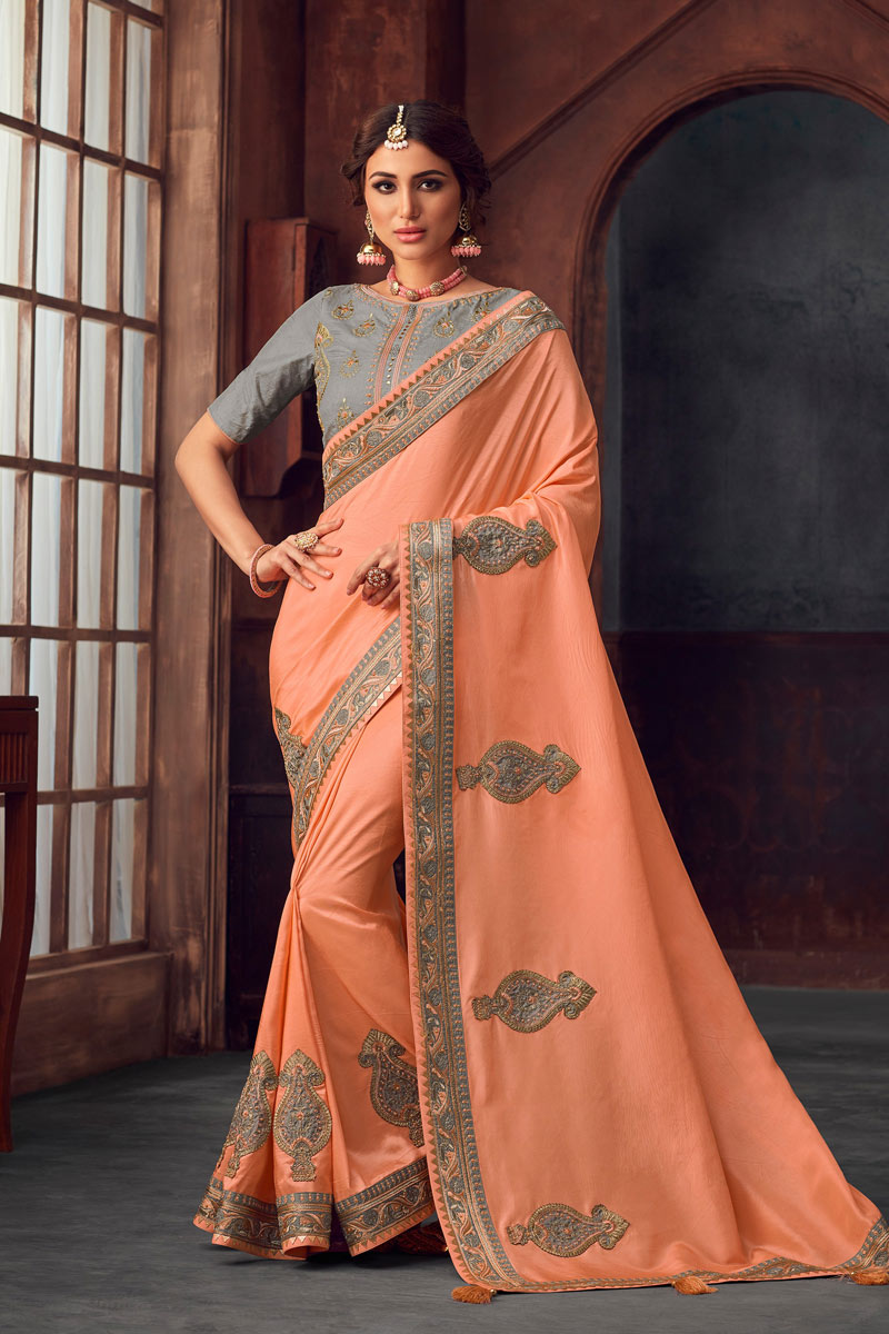 Art Silk Designer Embroidered Saree In Peach With Attractive Blouse