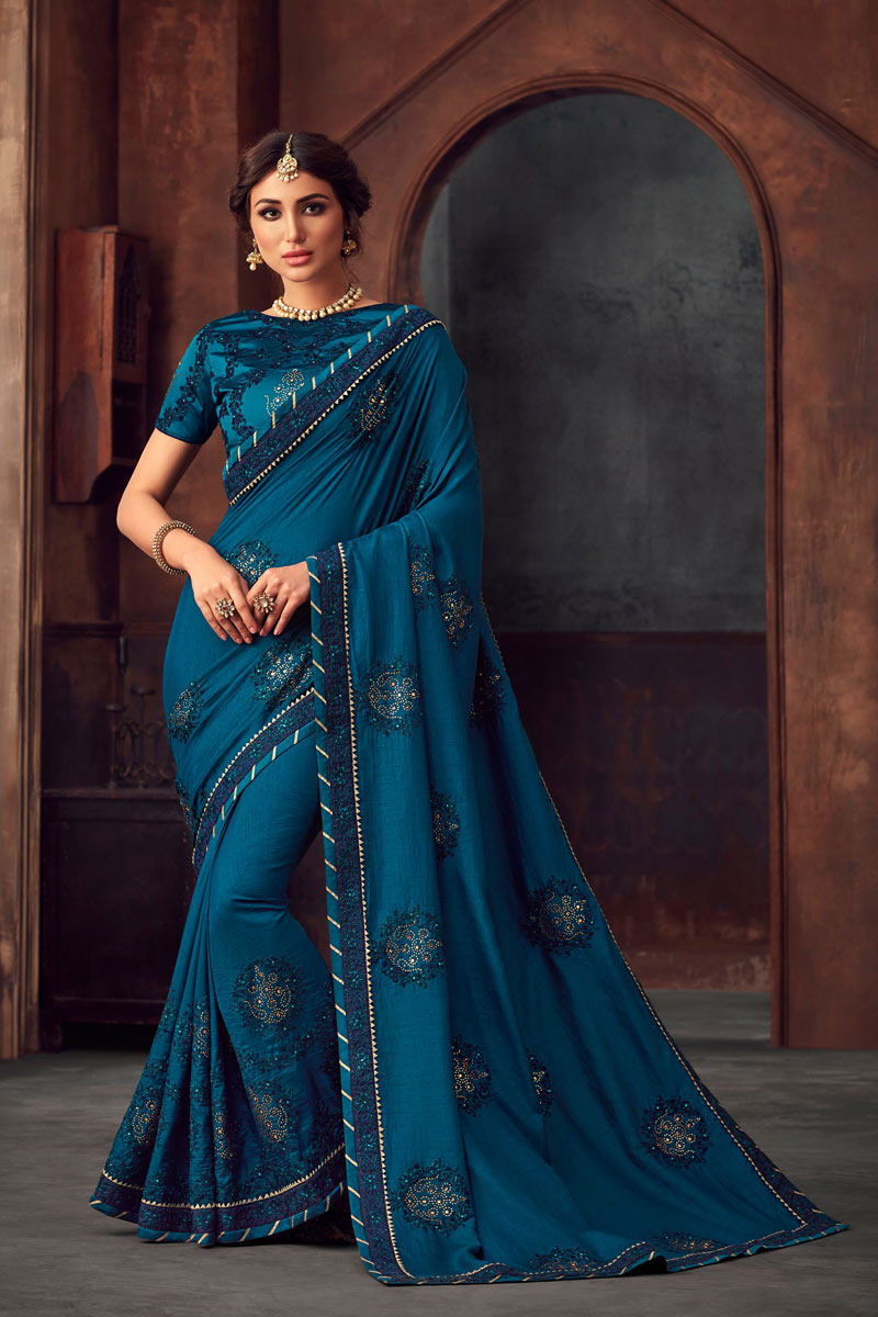 Sky Blue Party Wear Saree In Art Silk With Embroidery Work And Beautiful Blouse