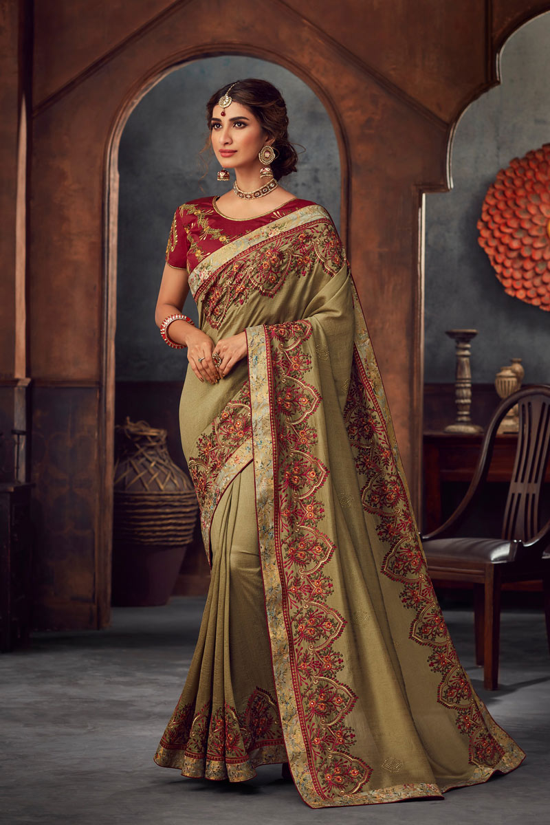 Art Silk Khaki Festive Wear Saree With Embroidery Work And Attractive Blouse