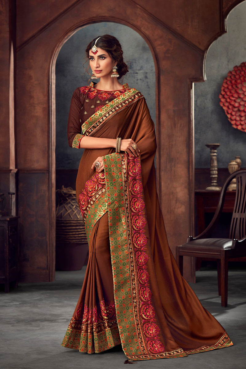 Occasion Wear Art Silk Embroidered Saree In Brown With Designer Blouse