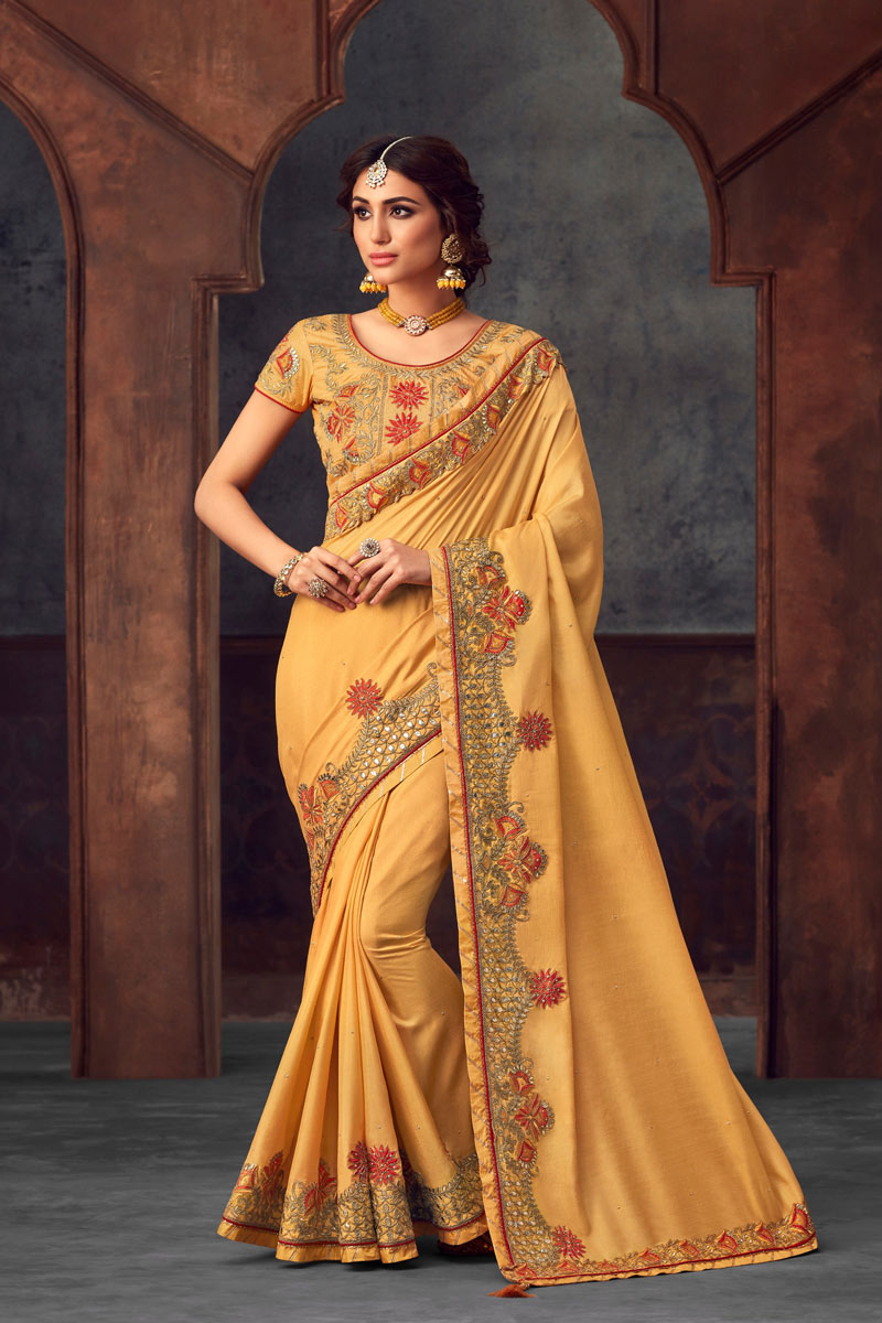 Embroidery Designs On Yellow Art Silk Party Wear Saree With Designer Blouse
