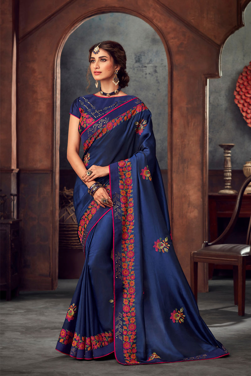 Blue Art Silk Designer Saree With Embroidery Designs And Enchanting Blouse