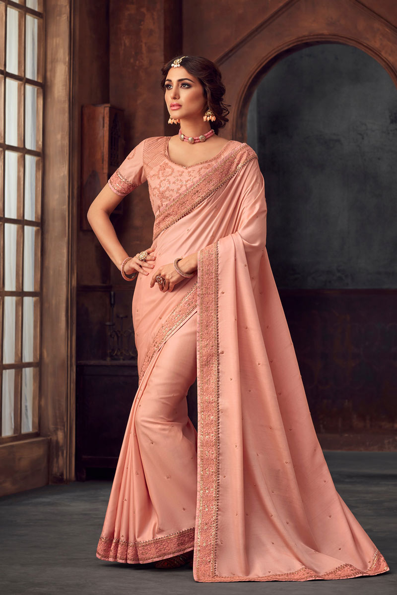 Art Silk Pink Party Wear Saree With Embroidery Work And Charming Blouse