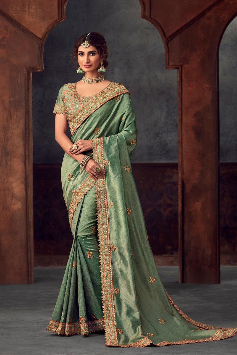 Sea Green Fancy Art Silk Festive Wear Saree With Embroidery Wor