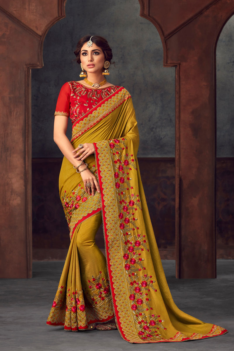 Embroidery Work On Designer Saree In Art Silk Mustard With Likable Blouse